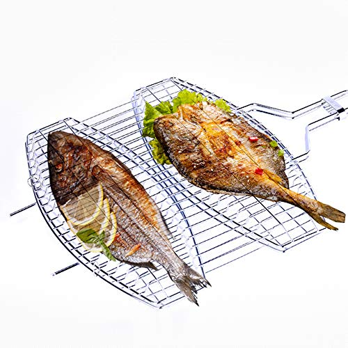 Blusea Portable Stainless Steel BBQ Barbecue Grilling Basket, Double...