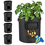 Lovinouse Large 5-Pack 7 Gallon Grow Bags, with 5 Pcs Plant Labels, Potato Planter Bags with Access Flap, Handles, Aeration Fabric (5 Pack 7 Gallon+5 Planter Label)