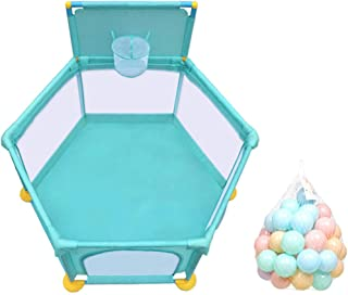 SXXDERTY-playard Ball Pit Tent Playpen Play yard with Mini Basketball Hoop Breathable Mesh and 200 Ocean Balls  Portable Indoors Outdoors and Parks Great Gifts for Babies Infant Toddler Kids green
