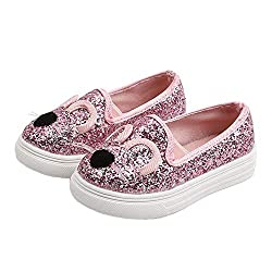 Pink Cartoon Cat Loafers With Sequins