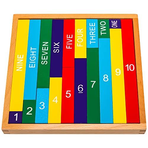 Natureich Juguete educativo de matemáticas Montessori de madera para aprender los números con barras de números en escritura y números Coloridas / Naturales