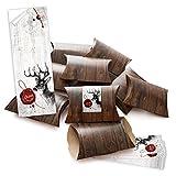 10 kleine Geschenkschachteln Geschenk-Boxen Kartons braun 14,5 x 10,5 + 3 cm mit Aufkleber...