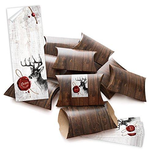 10 kleine Geschenkschachteln Geschenk-Boxen Kartons braun 14,5 x 10,5 + 3 cm mit Aufkleber Banderole
