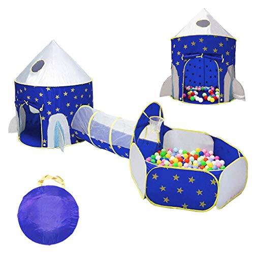 Speeltent Voor Kinderen, Raketschip Pop-Up Playhouse-Tent, Draagbare Opvouwbare Tunnel En Ballenbak Met Basketbalring Voor Meisjes Jongens Baby's Peuters Binnen Buiten