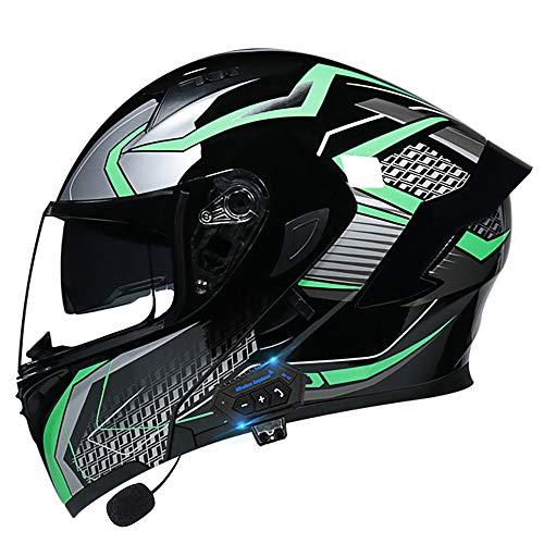 HHHKKK Casco De Motocicleta Bluetooth Modular ECE Homologado Seguridad Visera Doble Abatible Casco Carreras Casco Antivaho Completo, Universal para Hombres y Mujeres