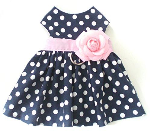 Navy Blue Polka Dots Pink Floral Pet Dog Apparel Clothing Harness Dress XXXS XXS XS Small Medium Large XLarge (L)