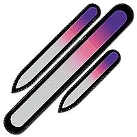 ベルベットのポーチ入りクリスタルネイルファイル3本セット、レインボーカラー、本物のチェコ製強化ガラス、永久保証付き、チェコ共和国のハンドメイド製品