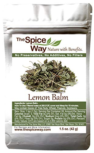 The Spice Way Lemon Balm - Dried Loose Leaf, Decaffeinated Herb (Melissa officinalis) Tea - No Additives, No Preservatives, Just Herbs we Grow and Sun-dry. 1.5 oz (Resealable Bag)