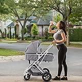 WIUANG Moderno cochecito deportivo 3 en 1 para niños, bañera y sillita de bebé, asiento deportivo con función reclinable y asiento para coche, altura regulable, con capota y bandeja, fácil de plegar (gris)