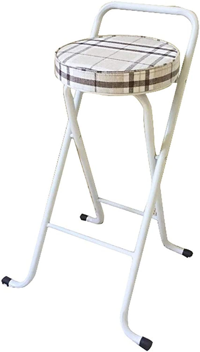 Folding Bar Stool Breakfast Padded Bar Chair Stool Kitchen Party Office Stool Seat Steel Frame Portable with Fabric Upholstered Seat