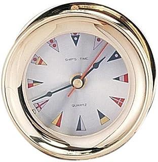 HS - Reloj de cuarzo de latón pulido con esfera de bandera náutica