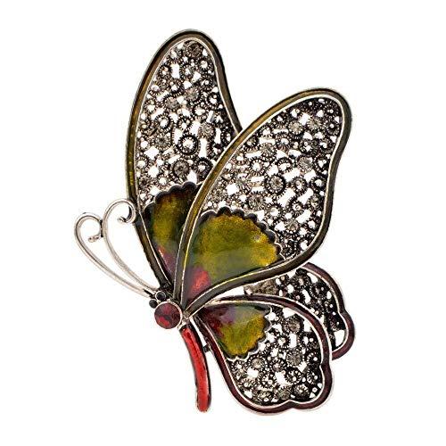 necklace Collar de Moda para Mujer Gran Diamante Broche de Mariposa Hembra Elegante Colorido Insecto Regalo Hermosa Buena Moda, Nombre del Color Pines, Pines Retro: Verde Izar (Color : Green)