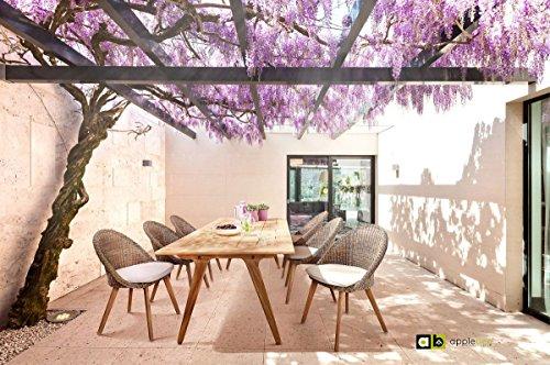 Apple & Bee Hochwertiger Teakholz Sitzgruppe Fleur Dining 6-Personen inkl. Tisch, Stühle und Kissen/Gartentisch/Terassentisch/Balkontisch