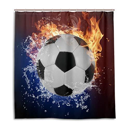 CPYang Duschvorhänge, Sport, Fußball, Feuer, wasserfest, schimmelresistent, 168 x 182 cm, mit 12 Haken