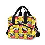 QMIN Umhängetasche, Mops, Hund, Wassermelonen-Streifen, isolierte Lunchbox mit Schultergurt,...