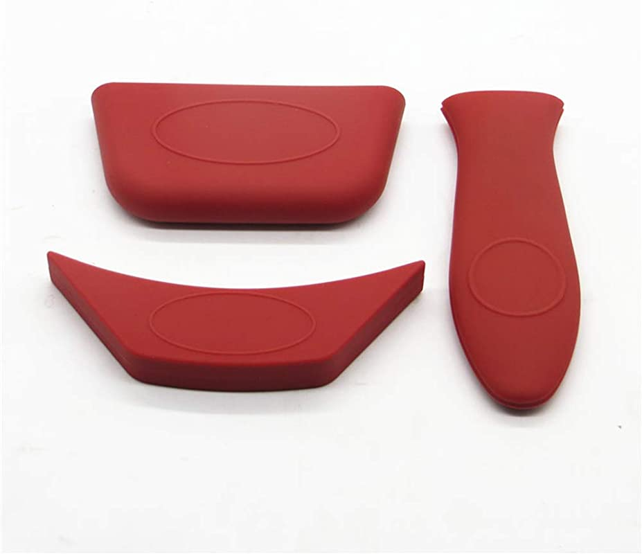Silicone Hot Handle Holder Set Of 3 Hot Mitts For Cast Iron Skillets Pans Frying Pans Griddles Metal And Aluminum Cookware Handles Sleeve Grip Handle Cover Red