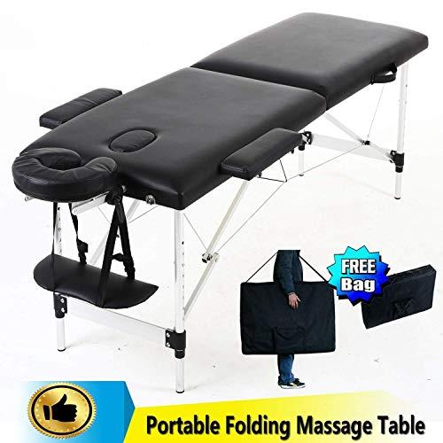 YouYou-YC Draagbare massage-tabel bed, 2-delig, opvouwbaar aluminium frame, professionele massagebank voor schoonheid tattoo SPA reiktherapie behandeling, salon healing W/armleuning hoofdsteun