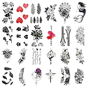 Everjoy Dark Rose Removable Temporary Tattoos - 24 Pcs Black Color Feather Heart Press on Tattoo Stickers for Adults Women Men Kids Boys and Girls