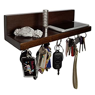 Brooklyn Basix Premium Magnetic Wood Key Ring Holder and Shelf for Mail, Letter, Phone, Wallet, Sunglasses Wall Mounted Organizer Perfect for Mudroom, Entryway, Foyer, Kitchen (Walnut)
