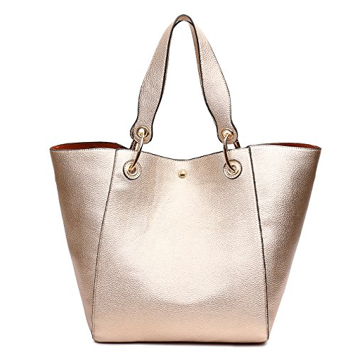 TIBES Faux Leather Handbag for College Girls Rose Gold