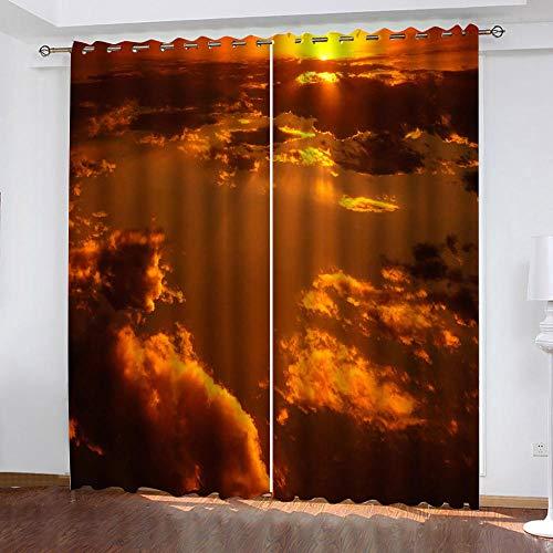 LIGAHUI Vorhang Blickdicht Orange & Sonnenuntergang 2X B140x H245cm Blickdicht Vorhänge mit 3D Drucken Vorhangverdunklungs Gardinen Schlafzimmer für Kinder Kinderzimmer