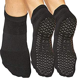 Pointe Studio Ankle Socks for Women with Grippers, 2 Pack [Non-Slip, Yoga, Pure Barre, Pilates, Dance, Bearfoot Workout]