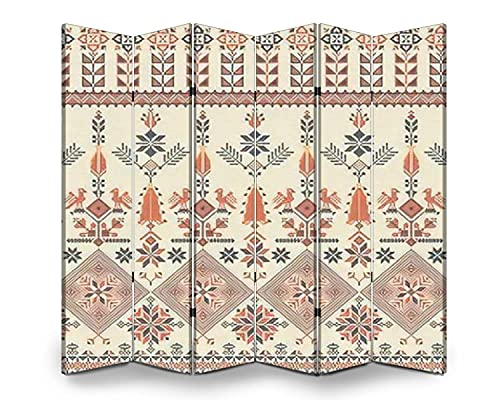 6 Panel Screen Room Divider Seamless pattern design with traditional Palestinian embroidery motif Folding Canvas Screen Privacy Partition Indoor Separator Freestanding Protective Wall Divider