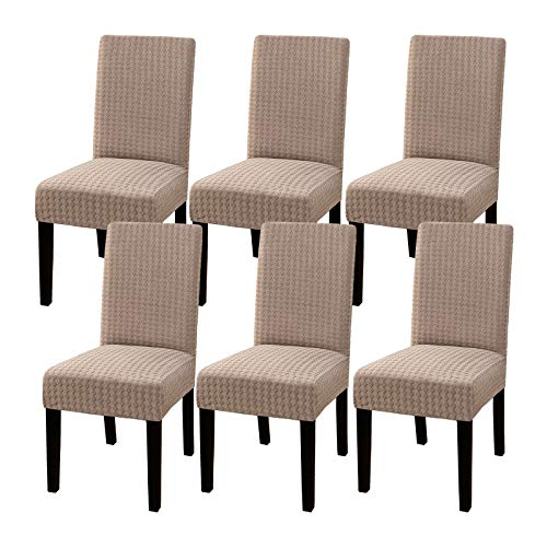 Dining Chair Covers (Set of 6) Stretch Dining Room Chair Slipcover Parsons Chair Furniture Protector Covers Chair Covers Removable Washable Chair Cover for Dining Room, Hotel, Ceremony, Sand