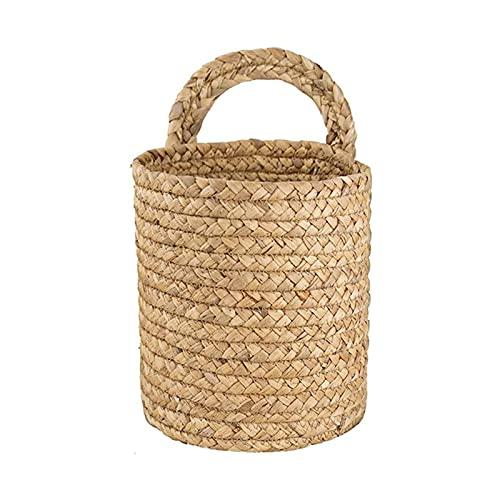 Cesta de mimbre colgante para puerta, cesta de mimbre para colgar en la pared, para plantas, flores, cesta de mimbre para sala de estar, dormitorio, jardín, color caqui, talla L