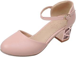 KemeKiss Women Comfort Block Heel Sandals Dating Buckle Strap Pumps
