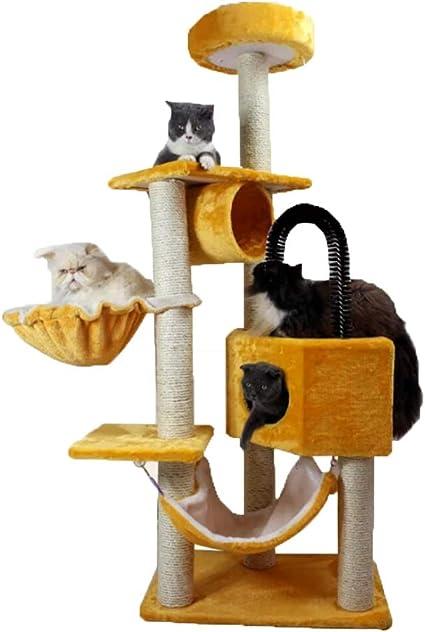 JIY-Árboles para gatos Gato Escalada Pared Estante Gato casa Gato árbol Gato Juguete Salto Gato Captura Escalada Columna sisal Villa Grande Gato Torre ...