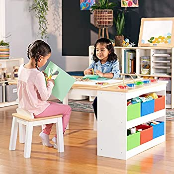 Guidecraft Arts and Crafts Center  Kids Activity Table and Drawing Desk with Stools Storage Bins Paper Roller and Paint Cups - Children s Wooden Learning Furniture