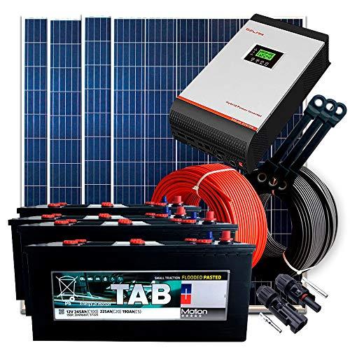 Kit Solar 24V 1.200W / 6.000W Día + 4 Paneles + 4 Baterías Monoblock TAB 245Ah + Inversor Multifunción 3kva con Regulador MPPT 60A
