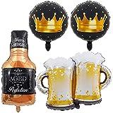 Birthday Party Balloons, Beer Mug Whiskey Bottle Mylar Foil Balloons for Wedding Birthday Party Anniversary Festival New Year Decoration 4PCS