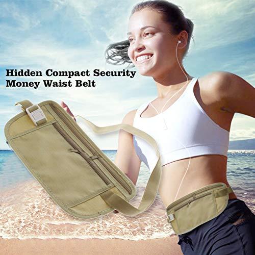 Universal Slim Jogging Sac de Taille Sac de Voyage léger Pochette de sécurité compacte Argent Sac de Course de Taille extérieure Ceinture Beige