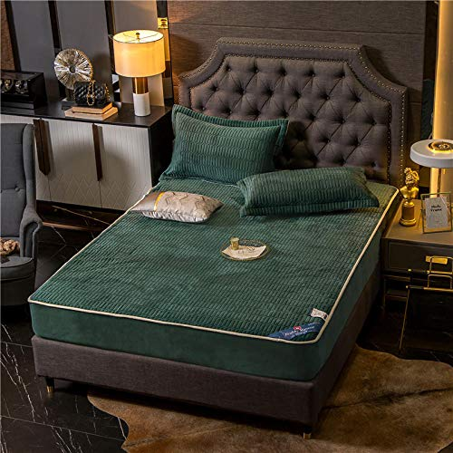 GTWOZNB Luxurious No-Iron Bed Sheet is Breathable- Top Sheet is Oh-So-Soft Autumn and winter warm and breathable non-slip protective cover-dark green_200*220cm