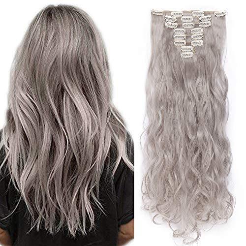 Clips Cheveux Extension Curly [ 8 Pièces 18 Clips ] On Dirait de Vrai Cheveux [60CM][Gris Clair]