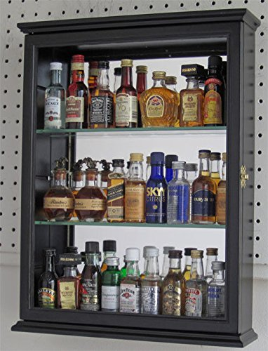 Black Finish Solid Wood Mini Liquor Bottle Display Case Cabinet Shadow Box