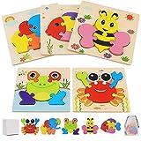 Puzzles de Madera de Animales Niños 2 3 4 5 Años, Juguetes Bebes Montessori Puzzles Infantiles Educativos Rompecabezas Juegos Regalo Preescolar de Aprendizaje Temprano para Niñas y Niños
