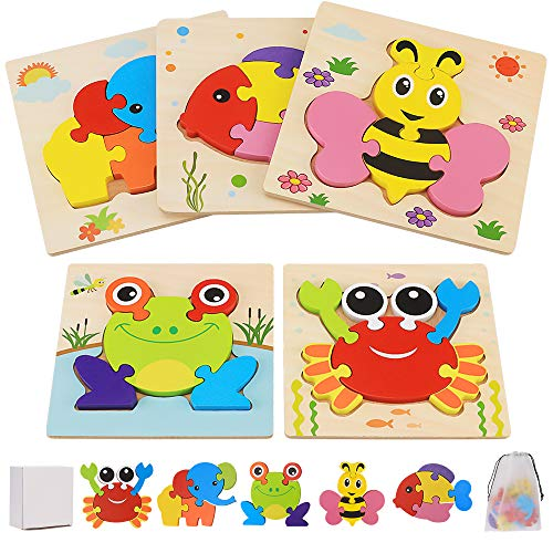 Wooden Jigsaw Puzzles for Toddlers 1 2 3 4 Year Olds, 5Pcs Montessori Toy Wooden Animal Puzzle Set Educational Learning Toys & Gifts for Kids Children
