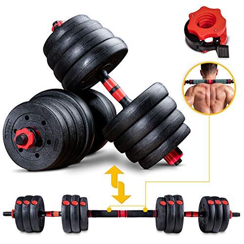 Sportstech 2 in1 innovatives Hantel-Set AH150 | Kurzhanteln & Langhanteln | Hanteln im 20kg, 30kg, 40kg Set | Sicherheitsverschluss + extra langes Verbindungsstück 400mm | Fitness für Männer & Frauen