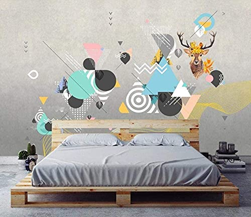ZZXIAO Geometric Lines of Abstract Elk Non-Woven Wallpaper 3D Wallpaper Wall Decoration Murals Living Room Non-Woven Silk 3D Wallpaper Paste Living Room The Wall for Bedroom Mural border-150cm×105cm