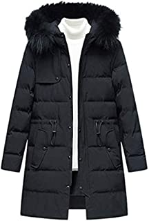 wuliLINL Men's Winter Windproof Thickened Quilted Down Jacket with Faux Fur Hoodie Cotton-Padded Solid Coat Outwear for Men