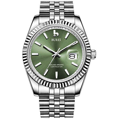 BUREI Men's Classic Automatic Watch with Elegant Green Analog Dial Day Date...