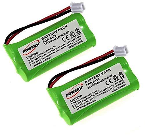 Powery Pack de 2 baterías para Siemens Gigaset AS 15 AS140/A140/A150/A160/A165/A240/A245/A260/A265/T-Com Sinus 100/Voltaje 2,4 V