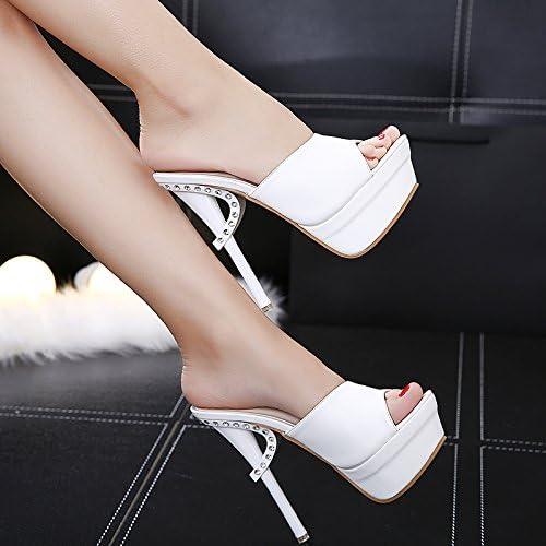 VIVIOO High Heels High-Heeled Sandals Super High-Heeled Summer Rhinestones Slippers Woherren Waterproof Platform Hollow Weiß Fish Mouth schuhe Nightclub Fine Sandals