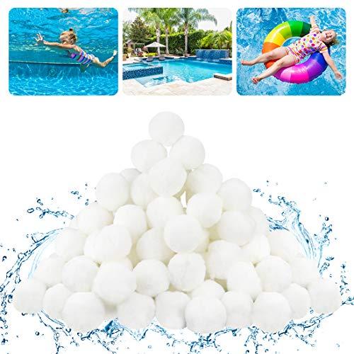 FHzytg 800g Sandfilter Pool, Poolpumpe Sandfilter Bälle Sandfilter, Pool Filterballs Filter Balls, Pool Filter Balls Pool Balls Sandfilter, Poolpumpe Balls Ersetzen 29 kg Filtersand für Pool