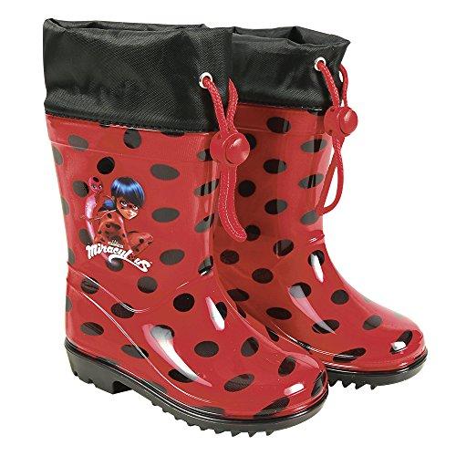 PERLETTI Stivaletti Pioggia Miraculous Ladybug - Stivali Impermeabili Bambina Lady Bug - PVC con Scuola Antiscivolo e Chiusura a Coulisse - Rossi a Pois Neri (30/31)