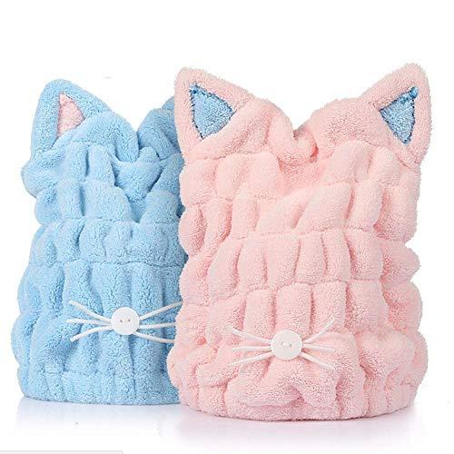 2 Pack Microfiber Hair Drying Towels, Fast Drying Hair Cap, Long Hair Wrap,Absorbent Twist Turban(Rainbow)