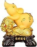 ZCYXQR Estatua de ratón/Rata de Resina Dorada de Feng Shui Chino, estatuilla Decorativa para Mesa de Oficina en casa Que atrae la colección de Buena Suerte y Riqueza